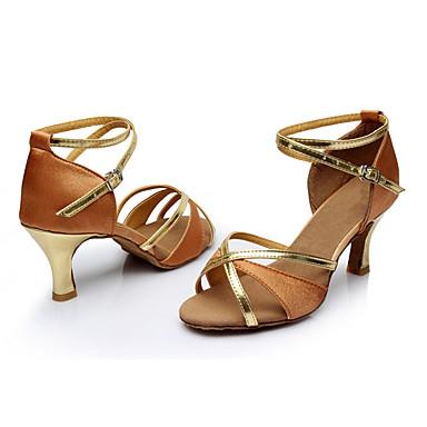 Damen Latin Seide Sandalen Innen Maßgefertigter Absatz Braun Maßfertigung