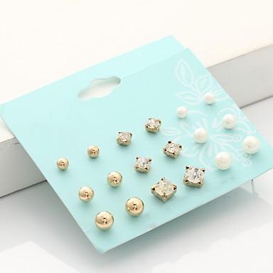 Women's Stud Earrings - Imitation Pearl, Rhinestone Fashion, Euramerican Gold / Silver For Party Birthday Daily / 18pcs