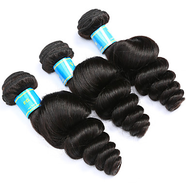 Echthaar Peruanisches Haar Menschenhaar spinnt Leicht gelockt Haarverlängerungen 3 Stück Schwarz