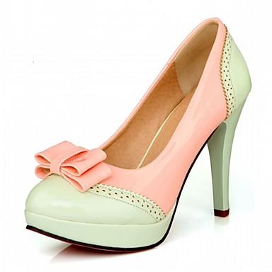 Mulheres Sapatos Couro Envernizado Primavera / Outono Conforto / Inovador Saltos Caminhada Salto Agulha Ponta Redonda Laço Rosa claro /