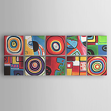 cheap Wall Art-Oil Painting Hand Painted - Abstract Abstract Modern Contemporary Stretched Canvas