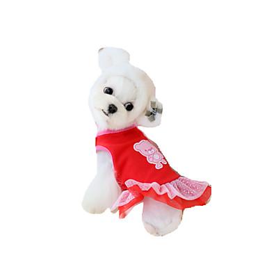Koira Hameet Koiran vaatteet Prinsessa Punainen Kangas Asu Lemmikit Kesä Miesten Naisten Juhla Rento/arki