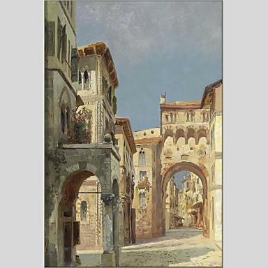 Pintados à mão Arquitetura Panorâmico vertical, Abstracto Tela de pintura Pintura a Óleo Decoração para casa 1 Painel