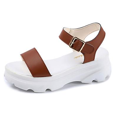 Damen Schuhe PU Kunstleder Sommer Komfort Sandalen Flacher Absatz Offene Spitze Für Normal Weiß Schwarz Dunkelbraun