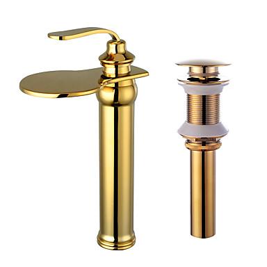 Conjunto Central Cascata Válvula Cerâmica Uma Abertura Dourado, Torneira pia do banheiro