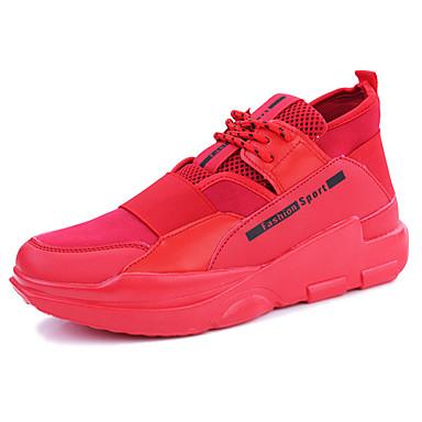 Homens sapatos Borracha Primavera/Outono Conforto Tênis para Ao ar livre Branco Preto Vermelho