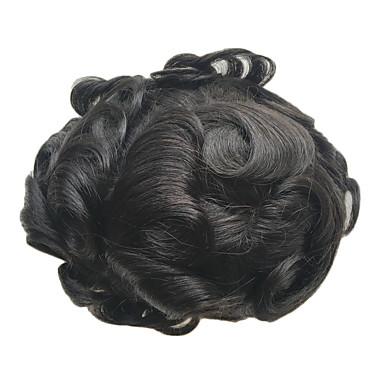 8x10inch miesten peruukki hiuslisäke Sveitsin pitsi luonnollinen Remy hiukset korvaavia järjestelmiä hiuslisäke