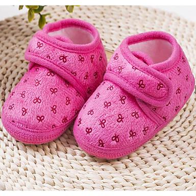 Baby Schuhe Stoff Frühling Herbst Lauflern Flache Schuhe Walking Niedriger Absatz Runde Zehe Klettverschluss Für Normal Rot Blau Rosa