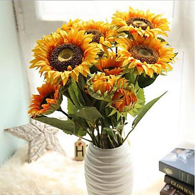 1 Ramo Seda Poliéster Girassóis Flor de Mesa Flores artificiais