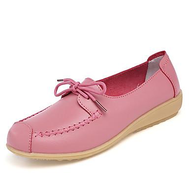 Mulheres Sapatos Couro Verão Outono Conforto Oxfords Salto Plataforma Ponta Redonda para Casual Branco Preto Azul Rosa claro