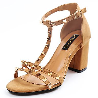 Mulheres Sapatos Couro Ecológico Verão Conforto Sandálias Salto Robusto Preto / Amarelo / Verde