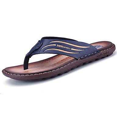 Homens sapatos Couro Ecológico Primavera Verão Conforto Chinelos e flip-flops para Casual Castanho Escuro Azul