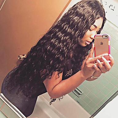 Naisten Aitohiusperuukit verkolla Aidot hiukset Lace Front Liimaton puoliverkko 180% Tiheys perverssi Peruukki Musta Lyhyt Keskikokoinen