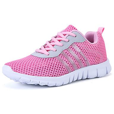 Mulheres Sapatos Couro Ecológico Verão Conforto Tênis Caminhada Sem Salto Ponta Redonda para Atlético Cinzento Roxo Azul Rosa claro
