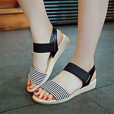 Women's Shoes PU Spring Comfort Sandals For Casual Black Beige