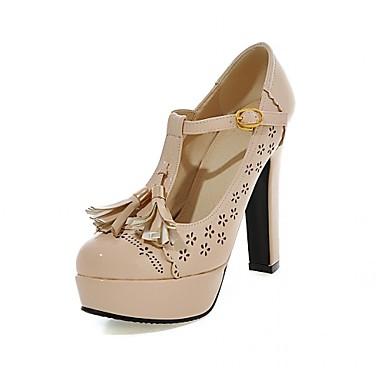 Mulheres Sapatos Courino Couro Ecológico Primavera Outono Conforto Inovador Saltos Caminhada Salto Robusto Ponta Redonda Mocassim para
