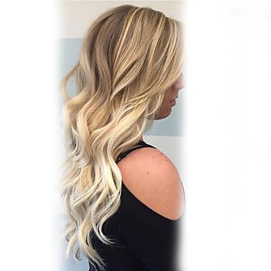 זול ללא מכסה-שיער ללא שיער שיער אנושי גלי / קלאסי הוכן באמצעות מכונה פאה יומי