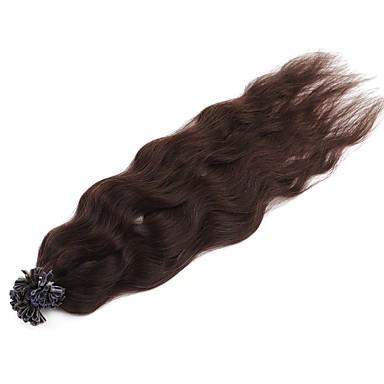 Neitsi 20'' 50g/lot 1g/s Natural Wave Keratin Fusion U Tip Human Hair Extensions Curly Pre bonded Hair Dark Brown#