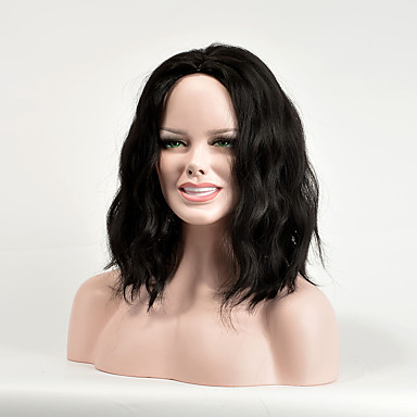 Synthetic Wig Wavy Synthetic Hair Black Wig Women's Medium Length Capless