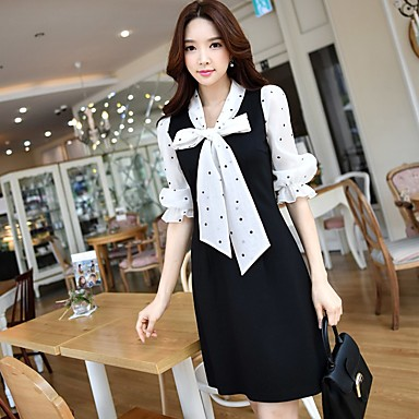 DABUWAWA Women's Party Holiday Going out Daily Work Simple Cute Sophisticated Sheath Black and White DressPolka Dot V Neck Above KneeHalf
