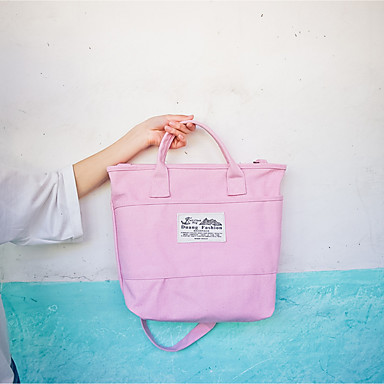 Women's Bags Canvas Shoulder Bag for Casual All Seasons Blue Blushing Pink Beige Gray Clover