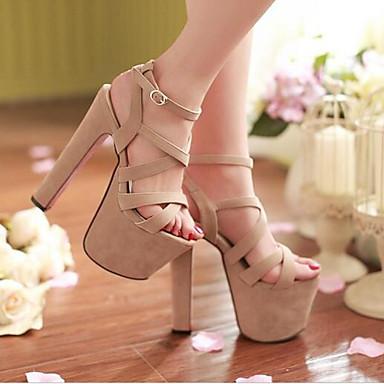 Naiset Kengät PU Kevät Kesä Comfort Sandaalit Käyttötarkoitus Kausaliteetti Musta Persikka Manteli
