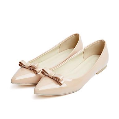 Mulheres Sapatos Couro Envernizado Primavera Outono Conforto Inovador Rasos Caminhada Sem Salto Dedo Apontado Laço para Casual Social Ao