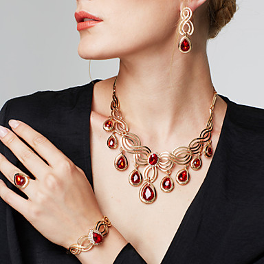 cheap Jewelry Sets-Women's Synthetic Ruby Cut Out Jewelry Set - 18K Gold Plated, Rhinestone Floral Theme, Flower Statement, Ladies, Luxury, Bohemian, Fashion, Boho Include Drop Earrings Statement Necklace Statement