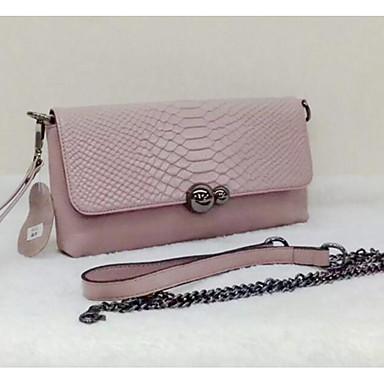 Women Shoulder Bag Cowhide All Seasons Casual Outdoor Rectangle Zipper Black Red Blushing Pink