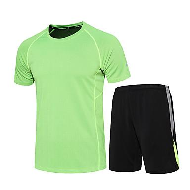 Herre T-skjorte og shorts til jogging Fukt Wicking Fort Tørring Pustende Klessett til Trening & Fitness Løp Svart/Grønn