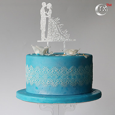 Cake Topper Classic Couple Plastic with 1pcs PVC Bag