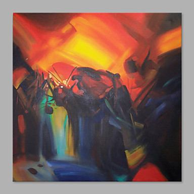 Pintados à mão Abstrato Horizontal, Abstracto Moderno/Contemporâneo Tela de pintura Pintura a Óleo Decoração para casa 1 Painel
