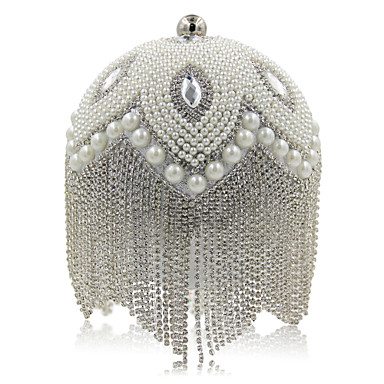 Women's Bags Polyester Evening Bag Rhinestone Pearl Detailing Tassel for Wedding Event/Party Casual Formal Office & Career All Seasons