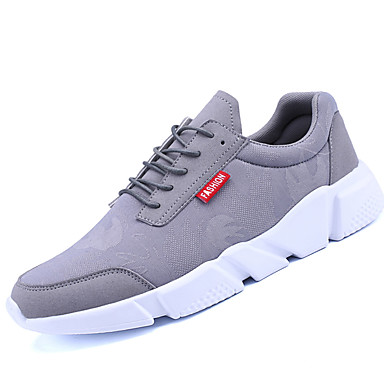 Men's Sneakers Comfort Light Soles Spring Fall Breathable Mesh PU Athletic Casual Lace-up Flat Heel Black Gray Army Green Under 1in