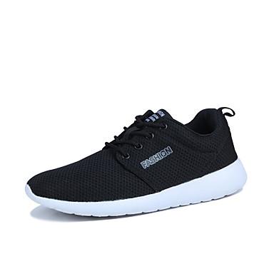 Homens sapatos Couro Ecológico Primavera Outono Solados com Luzes Conforto Tênis Corrida Cadarço para Atlético Preto