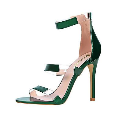 Mulheres Sapatos Courino Verão / Outono Conforto / Inovador / Solados com Luzes Sandálias Salto Agulha Presilha Verde / Rosa claro / Nú