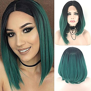 Synthetic Lace Front Wig Straight Bob Haircut Synthetic Hair Ombre Hair Green Wig Women's Short Lace Front