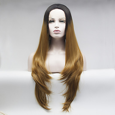 Synthetic Lace Front Wig Body Wave Ombre Hair Brown Women's Lace Front Natural Wigs Medium Long Synthetic Hair