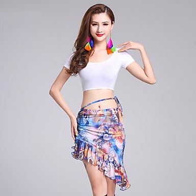 Belly Dance Outfits Women's Performance Modal Milk Fiber Pattern / Print Short Sleeve Natural Skirts Top