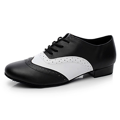 Men's Latin Shoes Leather Flat Indoor Black <1inch Customizable