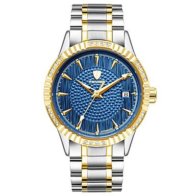 baratos Relógios Homem-Homens Relógio Esportivo Relógio de Moda Relógio Esqueleto Automático - da corda automáticamente Aço Inoxidável Branco / Dourada 30 m Impermeável Calendário Luminoso Analógico Vintage Casual Boêmio -