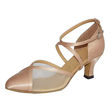 Mulheres Sapatos de Dança Moderna Seda Sandália Presilha Salto Cubano Personalizável Sapatos de Dança Preto / Amêndoa / Espetáculo