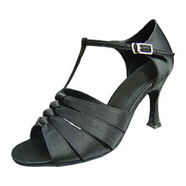 Naisten Latinalainen Tekonahka Silkki Sandaalit Lenkkarit Ammattilainen Soljilla Stilettikorko Musta Mahdollisuus räätälöidä