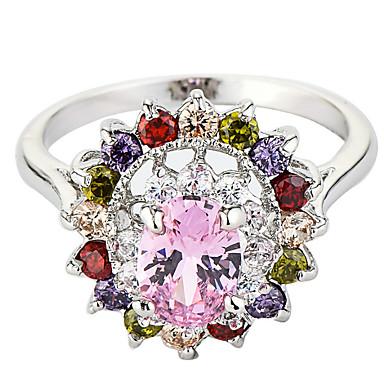 Dame Steninnfatninger Ring Band Ring Kubisk Zirkonium Rhinstein Personalisert Blomster Luksus Unikt design Klassisk Rhinestone