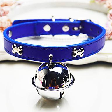 Gato / Cachorro Colarinho Boca de Sino Sólido PU Leather Preto / Azul