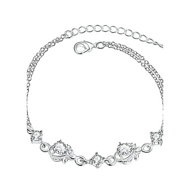 Women's Girls' Crystal Silver Plated Chain Bracelet - Vintage Friendship Fashion Flower White Orange Bracelet For Christmas Gifts Wedding