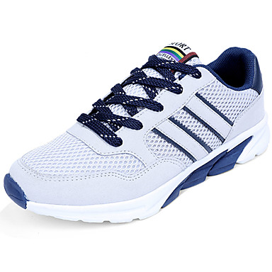 Men's Shoes PU Spring Fall Light Soles Comfort Athletic Shoes Running Shoes Lace-up for Athletic Black Dark Blue Gray