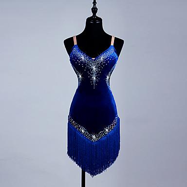 Latin Dance Dresses Women's Performance Spandex / Organza Tassel / Crystals / Rhinestones Sleeveless Dress