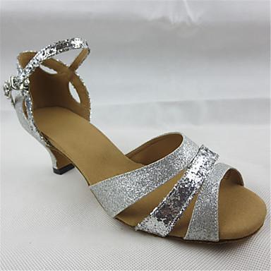 Mulheres Sapatos de Dança Latina Gliter Sandália Recortes Salto Cubano Personalizável Sapatos de Dança Prata / Espetáculo / Couro