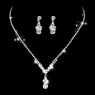 Mulheres Cristal Zircônia cúbica Zircônia Cubica Conjunto de jóias - Vintage Elegant Caído Prata Brincos Compridos Gargantilhas Sets